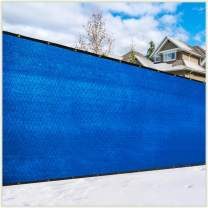 ColourTree Customized Size Fence Screen Privacy Screen Blue 5' x 25' - Commercial Grade 170 GSM - Heavy Duty - 3 Years Warranty - Cable Zip Ties Included