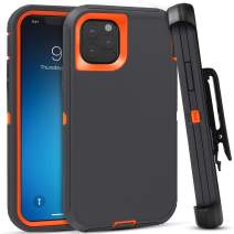 FOGEEK Case for iPhone 11 Pro Max, iPhone XI Pro Max Case, Heavy Duty Rugged Case, Belt Clip Holster Kickstand [Shockproof] Compatible for iPhone 11 Pro Max [6.5 Inch](Dark Grey/Orange)