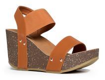 J. Adams Elastic Ankle Strap Platform Wedge Comfortable Open Toe Sandal Casual Low Slip On Shoe Birch