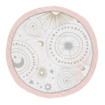 Sweet Jojo Designs Blush Pink, Gold and Grey Star and Moon Playmat Tummy Time Baby and Infant Play Mat for Celestial Collection