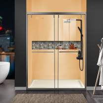"""GETPRO Sliding Shower Doors with Safety Laminated Glass, Upgraded Soft Close Shower Door Titanium Gray Stainless Steel Hardware Bypass Bathroom Shower Enclosure (56-60""""W 76""""H, Gray)"""