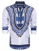 COOFANDY Men's Slim Fit Floral Dress Shirt Long Sleeve Casual Button Down Shirts (White-2, Medium)