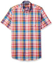 Nautica Big and Tall Short Sleeve Slim Fit Plaid Button Down Shirt