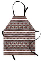 Lunarable Ukrainian Apron, Ornate Pixel Herringbone Rhombus and Square Eastern European Slavic Culture, Unisex Kitchen Bib with Adjustable Neck for Cooking Gardening, Adult Size, Salmon Black