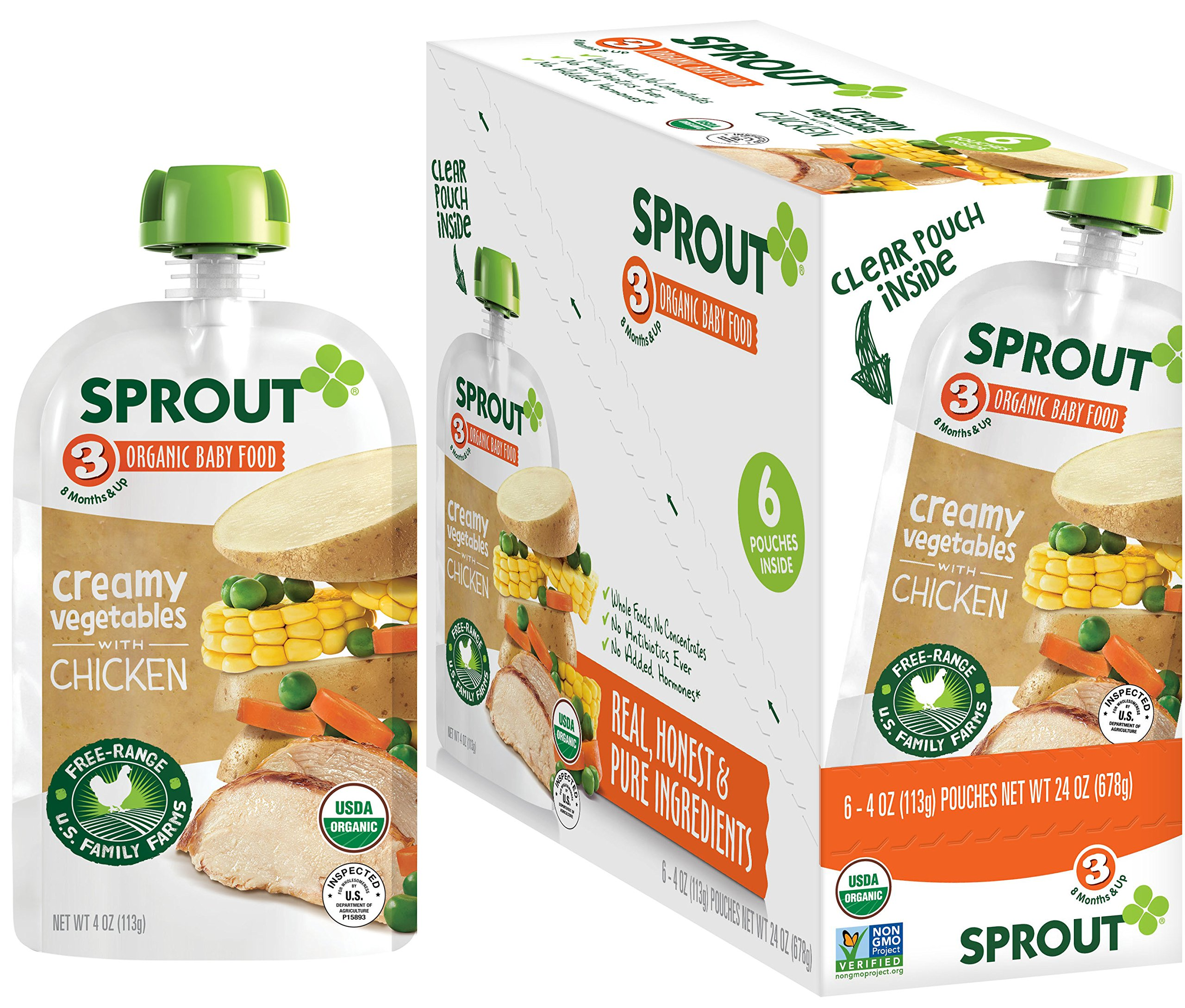 Sprout Organic Stage 3 Baby Food Pouches, Creamy Vegetables w/ Chicken, 4 Ounce (Pack of 12)