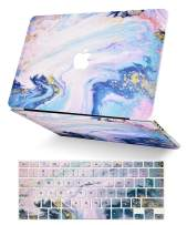 LuvCase 2 in 1 Laptop Case for MacBook Air 13 Inch (2020/2019/2018)(Touch ID) A2179/A1932 Retina Display Rubberized Plastic Hard Shell Cover & Keyboard Cover (Green White Marble)