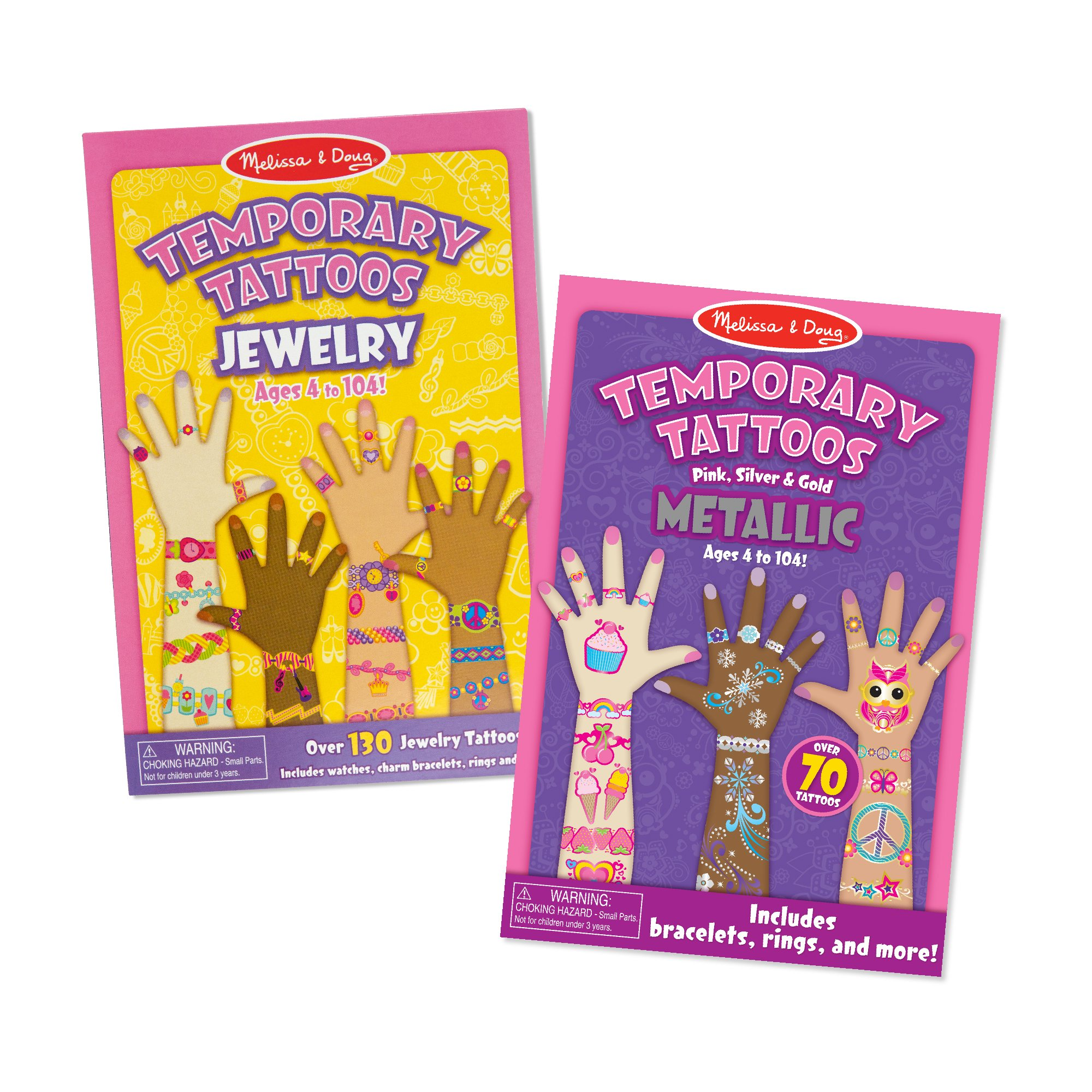 Melissa & Doug Press-On Temporary Tattoos for Kids (2 Pack – Jewelry, Metallic, Great Gift for Girls and Boys - Best for 4, 5, 6, 7, 8 Year Olds and Up)