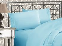 Elegant Comfort Luxurious 1500 Thread Count Egyptian Three Line Embroidered Softest Premium Hotel Quality 4-Piece Bed Sheet Set, Full, Aqua Blue