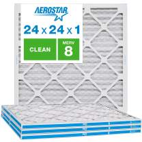 """Aerostar Clean House 24x24x1 MERV 8 Pleated Air Filter, Made in The USA, (Actual Size: 23 3/4""""x23 3/4""""x3/4""""), 4-Pack, White"""