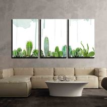 """wall26 - 3 Piece Canvas Wall Art - Various Cacti on Watercolor Background - Modern Home Decor Stretched and Framed Ready to Hang - 16""""x24""""x3 Panels"""