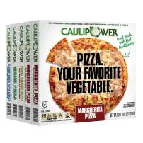 CAULIPOWER Frozen Pizza Variety 5 Pack, 2 Margherita pizzas, 1 Three cheese pizza, 1 Veggie pizza, and 1 Box with 2 cauliflower pizza crusts