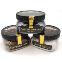 Foodie Gift Sea Salt Collection 3-Pack: Black Lava, Truffle, Smoked Bacon Fine - Fabulous Gift - Delicious, Unusual Sea Salt Infusions - Non-GMO, Gluten-Free, No MSG (12 total oz.)