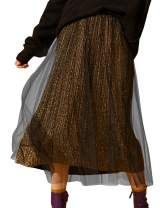 Elf Sack Women's A-line Shiny Mesh Skirts, High Waist with Bright Silk Knee Length Skirt
