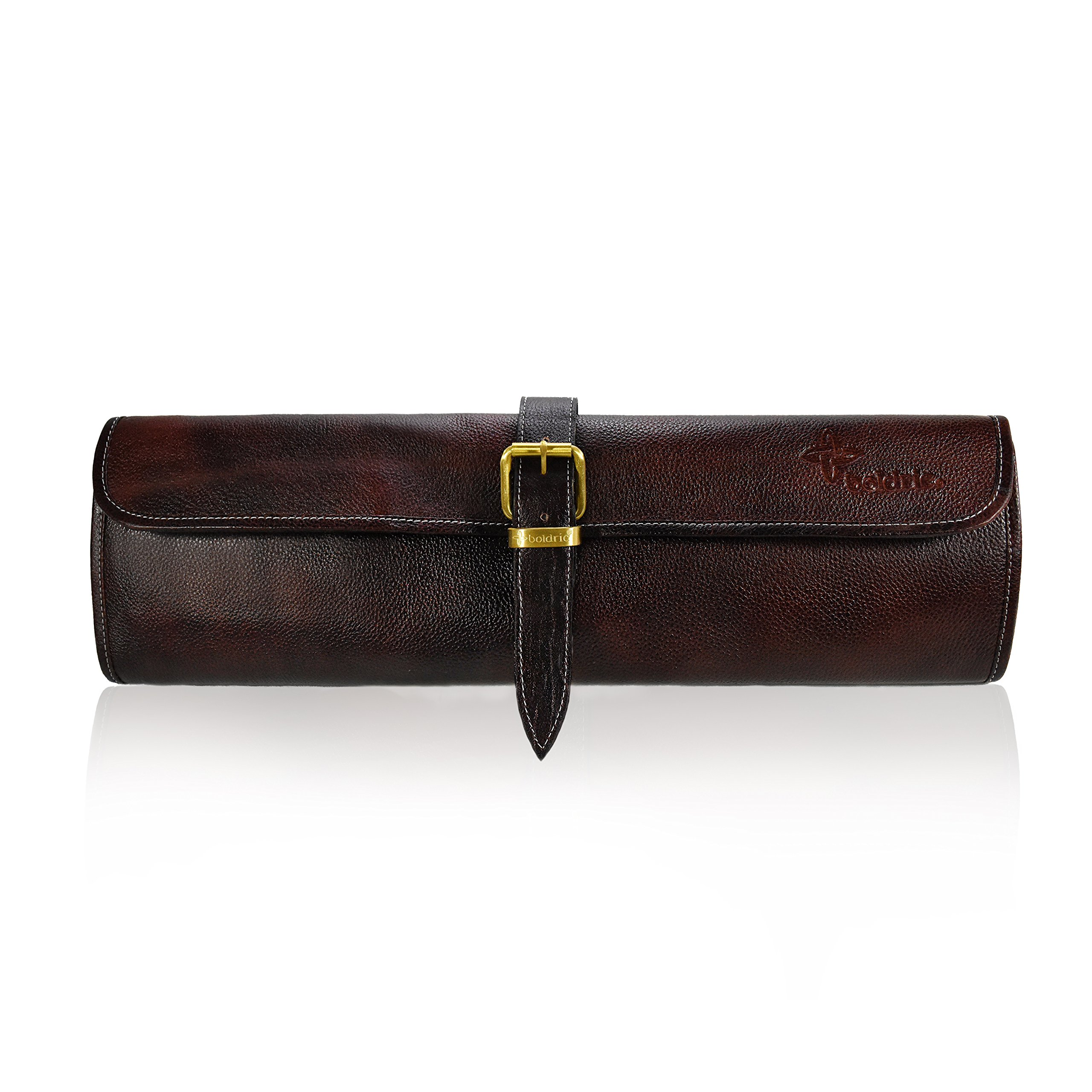 Boldric One Buckle Water Buffalo Leather Chef Knife Bag - Professional Grade Roll Travel Knife Case – 8 Tool Holder Slots For Knives Pens Pencils Spoons (Dark Brown)
