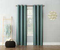 """No. 918 Montego Casual Textured Grommet Curtain Panel, Mineral, 48"""" x 95"""""""