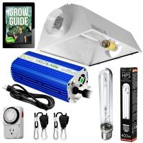 Yield Lab Horticulture 400w HPS Grow Light Cool Hood Reflector Kit Easy Setup Full Spectrum System for Indoor Plants and Hydroponics – Free Timer and 12 Week Grow Guide DVD