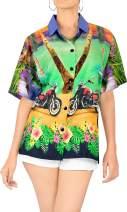 Women Hawaiian Shirt Top Beach Blouses Tank Casual Aloha Holiday Button Down