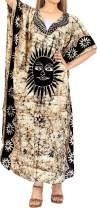 LA LEELA Women's Maxi Caftan Cover Ups Beach Evening Party Dress Hand Batik A