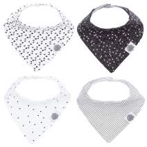 "Parker Baby Bandana Drool Bibs - 4 Pack Gray Baby Bibs for Boys, Girls, Unisex -""Shadow Set"""