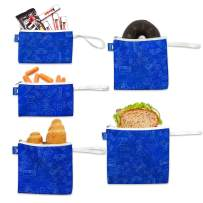 Nordic By Nature Reusable Sandwich Bag Snack Bags - Value Pack of 5 Dual Layer Lunch Baggies - Dishwasher Safe - Eco Friendly Cloth Wraps - Easy Open Zipper For Kids (Gamer Blue)
