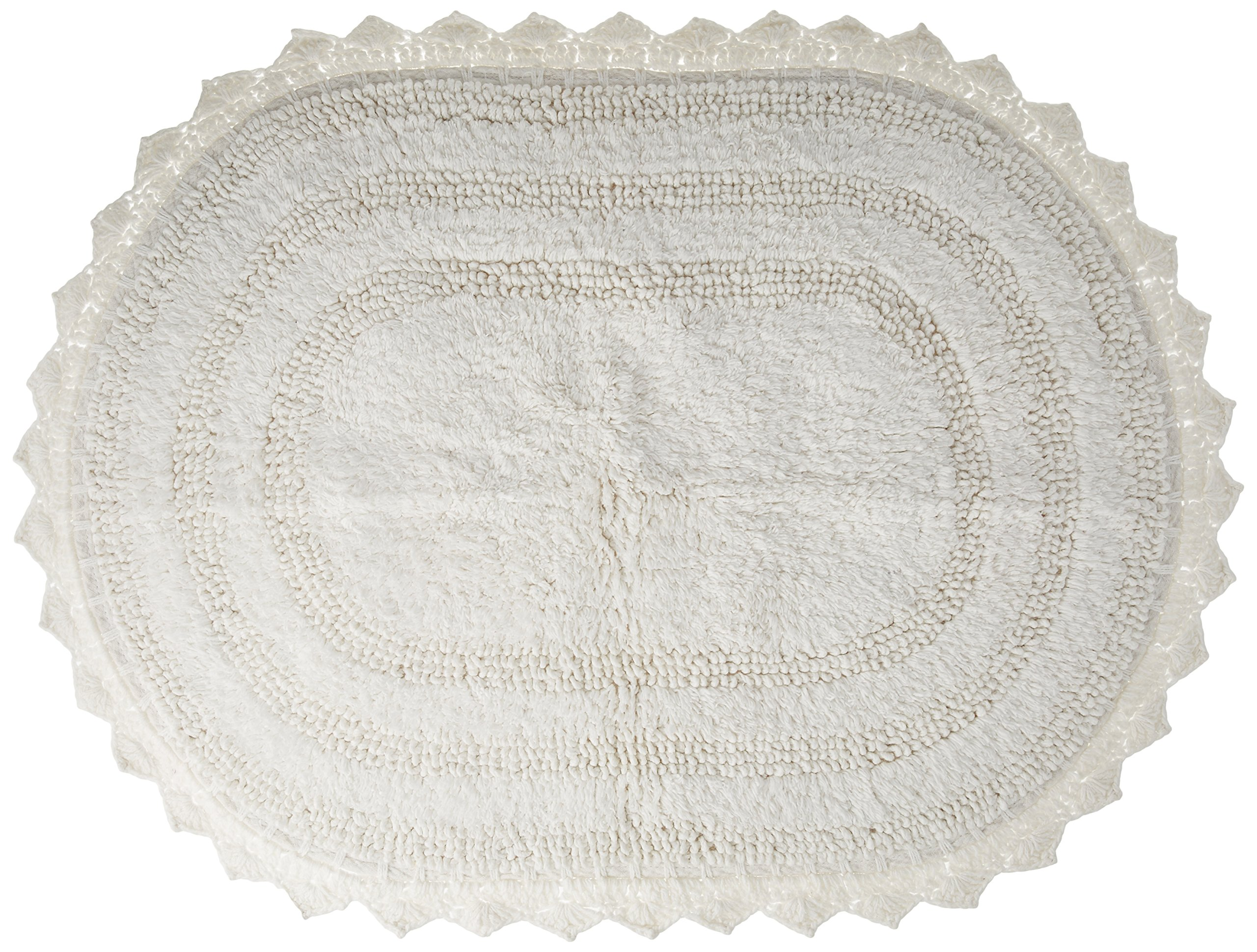 """DII Ultra Soft Spa Cotton Crochet Oval Bath Mat or Rug Place in Front of Shower, Vanity, Bath Tub, Sink, and Toilet, 21 x 34"""" - White"""