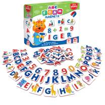 Little World Foam Alphabet Magnets - 87 ABC Fridge Magnets for Kids - 61 Magnetic Letters and Numbers for Toddlers - 26 Large Magnetic Animals - Montessori Refrigerator Magnets for Toddlers Age 3+