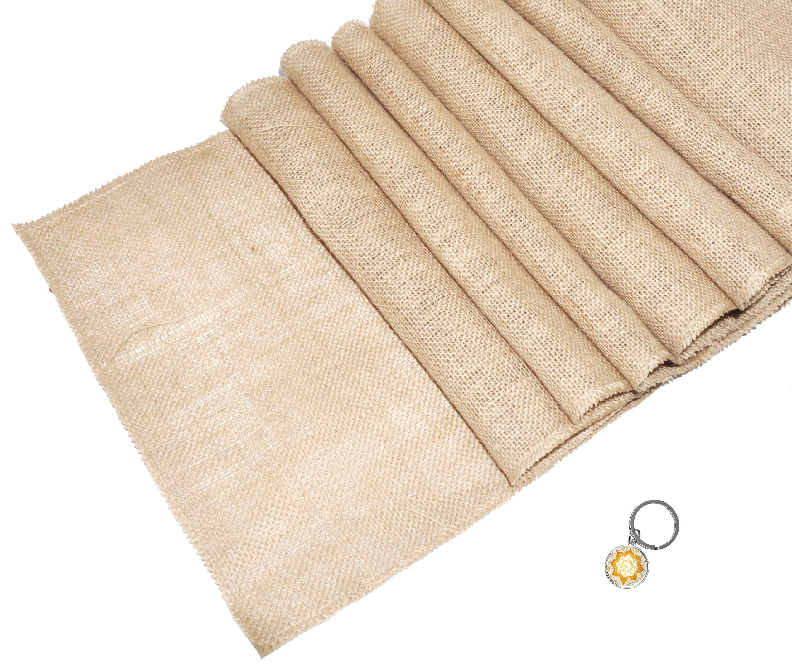 Mandala Crafts Jute Burlap Table Runner Roll for Wedding, Party, Farmhouse, Rustic Baby Shower, Country Decoration Plain, 5 Packs