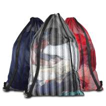 """Daly Kate 3 Pack Mesh Laundry Bags with Adjustable Single Shoulder Straps 24"""" x 36"""" Sturdy Nylon Material Laundry Liners with Drawstring Closure for College, Dorm and Apartment Etc.(Grey,Red,Blue)"""