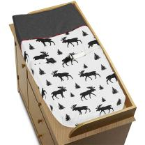 Grey, Black and Red Woodland Plaid and Moose Changing Pad Cover for Rustic Patch Collection by Sweet Jojo Designs