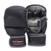 Pro Impact MMA Gloves, Extra Padding, PU and Genuine Leather Gloves for Sparring, Grappling, Kickboxing, Muay Thai, Martial Arts, Cage Fighting