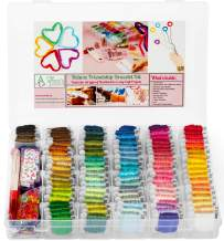 Premium DIY Friendship Bracelet String Kit Embroidery Thread and Accessories - Colors are Coded Embroidery Floss - Cross Stitch, String, Thread Craft Supplies - Perfect Gift for Girls 7 to 12