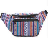 Festival Fanny Pack - Boho, Hippy, Eco, Woven, Cotton & Tribal Poly Styles (Blue Vert)