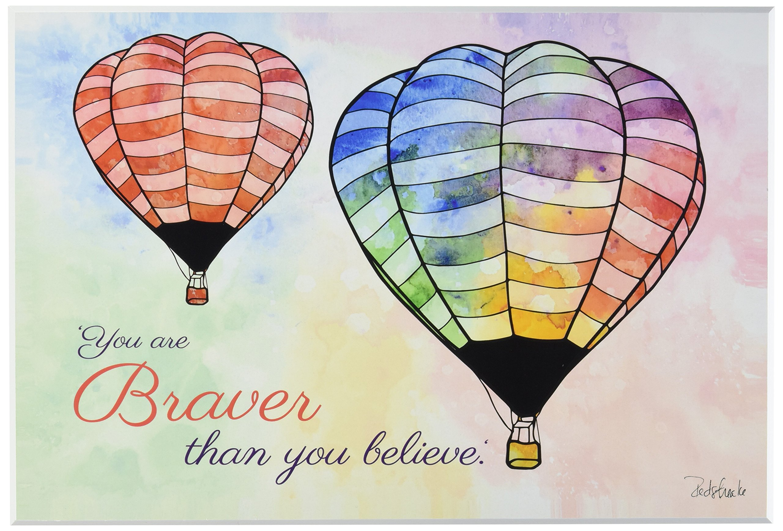 """The Kids Room by Stupell """"Watercolors You Are Braver Hot Air Balloons"""" Wall Plaque Art"""