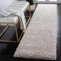 """SAFAVIEH California Premium Shag Collection SG151 Non-Shedding Living Room Bedroom Dining Room Entryway Plush 2-inch Thick Runner, 2'3"""" x 7' , Beige"""