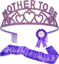 Baby Shower Decorations for Girl, Mother To Be Tiara Crown Purple, Growing A Princess Sash, Dad To Be Pin, Baby Shower Party Favors Decorations Gifts, It's a Girl, Baby Shower Sash, Mother to Be Gifts