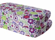 Bacati Crib Fitted Sheets, Botanical Purple (Pack of 2)