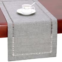 Grelucgo Large Handmade Hemstitch Gray Dining Table Runner Rectangular 14 by 120 Inch
