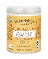Friendship Organics Decaf Chai, Totally Organic and Fair Trade Certified Decaffeinated Black Tea in Tagless Tea Bags (18 count)