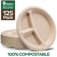 """100% Compostable Paper Plates [9 inch - 125-Pack] 3 Compartment Disposable Plates Heavy-Duty Quality, Natural Bagasse Eco-Friendly Made of Sugar Cane Fibers, 9"""" Biodegradable Plates by Stack Man"""