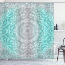"""Ambesonne Grey and Turquoise Shower Curtain, Primitive Essence and Universe Harmony Mandala Ombre Art, Cloth Fabric Bathroom Decor Set with Hooks, 70"""" Long, Turquoise Grey"""