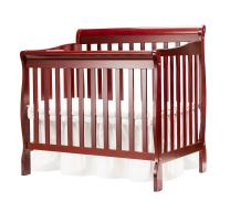 Big Oshi Kayla 4-In-1 Convertible Crib – Modern, Unisex Wood Design for Boys or Girls – Adjustable Height, Low or High - Convertible to Crib, Day Bed, and Twin Bed With or Without Footboard, Cherry