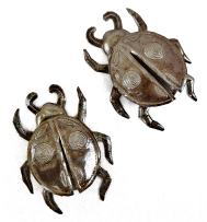 Ladybugs Set of 2 Haitian Metal Bugs Wall Art, Unique Decorative Garden Insects 5 x 5.5 Inches (Ladybug)