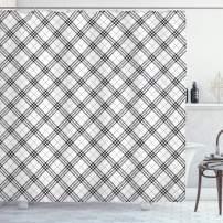 "Ambesonne Geometric Shower Curtain, Fashion Style Textured Diagonal Scottish Irish Minimalist Design Pattern Print, Cloth Fabric Bathroom Decor Set with Hooks, 75"" Long, Black White"