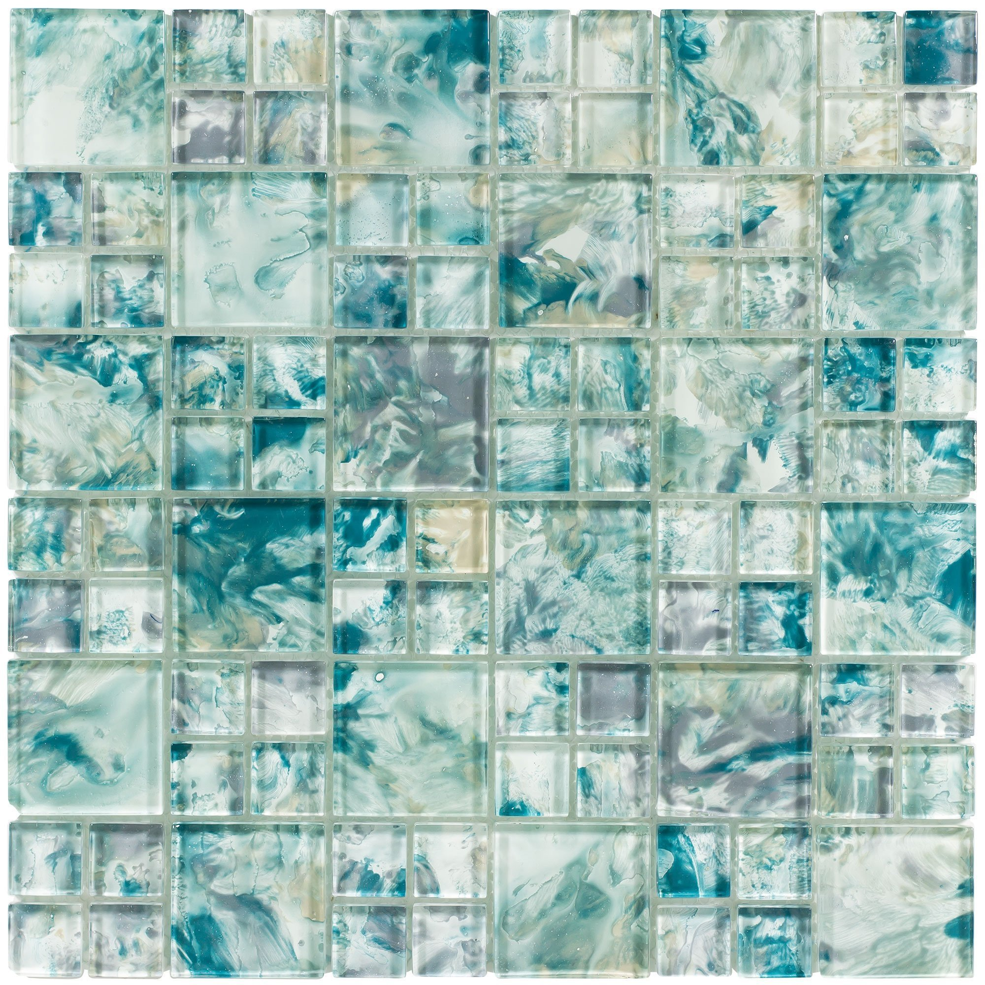 MTO0112   Modern French Pattern Turquoise Glossy Glass Mosaic Tile