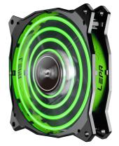 LEPA Chopper Advance 120mm High Performance LED PC Case Fan, Green - LPCPA12P-G