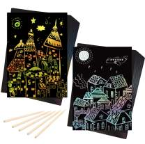 Craftoy Scratch Art Paper Set Magic Scratch Paper for Kids Black Scratch it Off Art Crafts Note Boards Sheet for Easter Party Game Christmas Birthday Gift (A5 (7.2''X5''), 50Gold+50Silver)