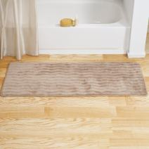 Lavish Home Microfiber Memory Foam Bathmat – Oversized Padded Nonslip Accent Rug for Bathroom, Kitchen, Laundry Room, Wave Pattern (Mocha)