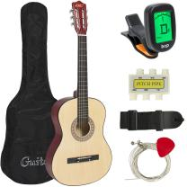 Best Choice Products 38in Beginner Acoustic Guitar Starter Kit w/Case, Strap, Tuner, Pick, Strings - Natural