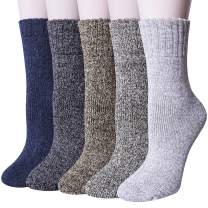 Pack of 5 Womens Winter Socks Warm Thick Knit Wool Soft Vintage Casual Crew Socks Gifts