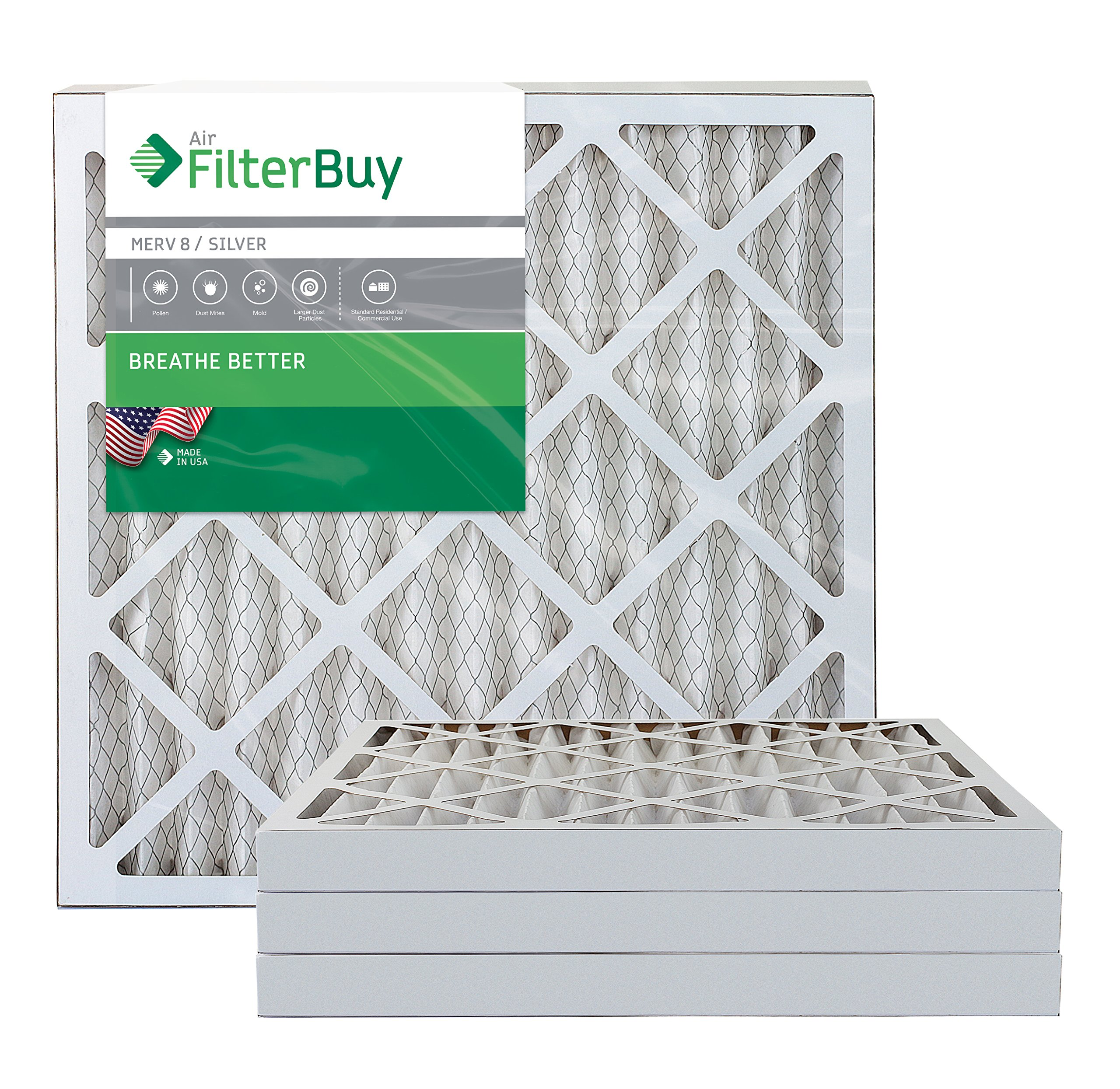 FilterBuy 20x20x2 MERV 8 Pleated AC Furnace Air Filter, (Pack of 4 Filters), 20x20x2 – Silver